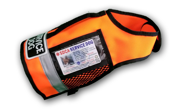 orange sport utility service dog vest with handle and large service dog patch and clip for inhaler engraved tag keys...clear pocket for id card, 4 pockets and reflective strip