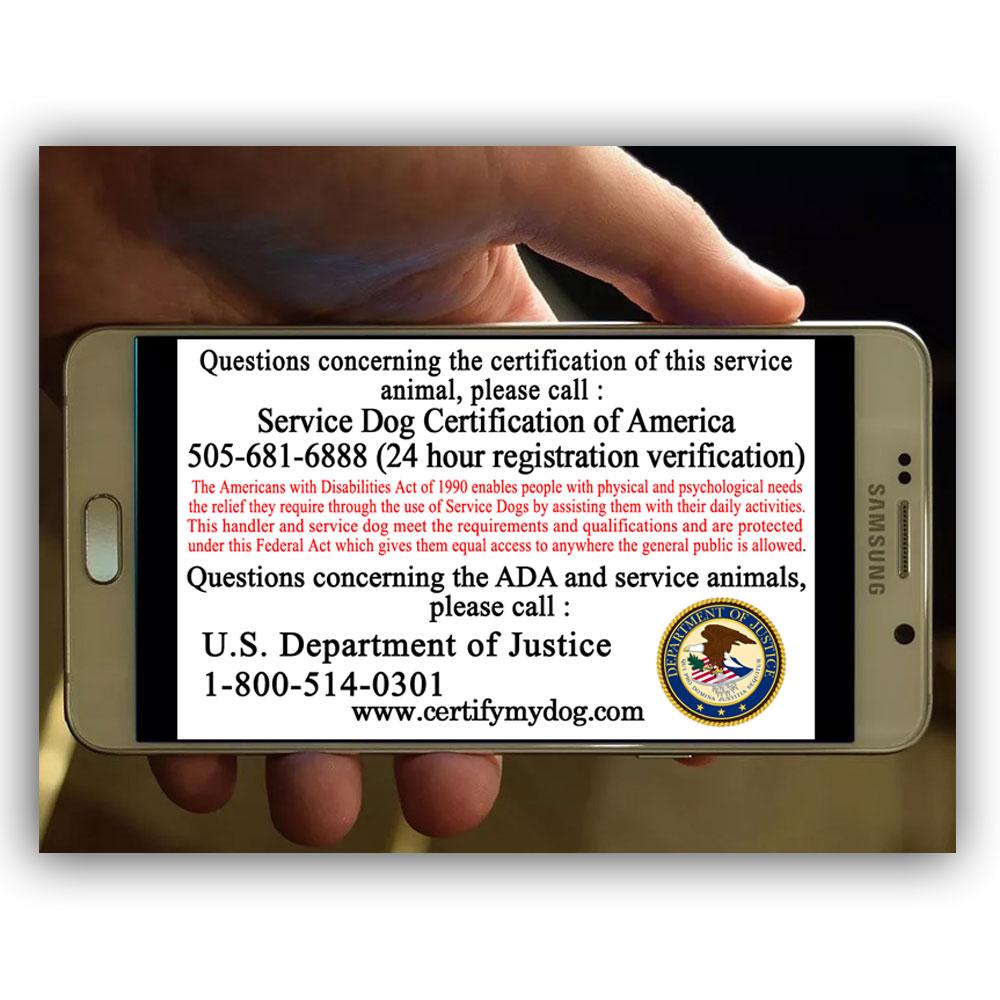 Back of Service dog smartphone id card
